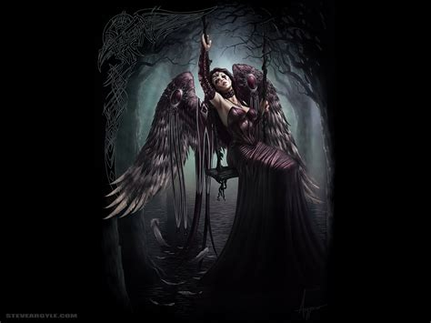 darkness beautiful dark themes wings trees feathers gothic fantasy art swings steve argyle black background lace gloves gowns