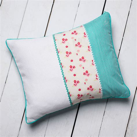 Cushion Patchwork - personalised turquoise ditsy patchwork cushion
