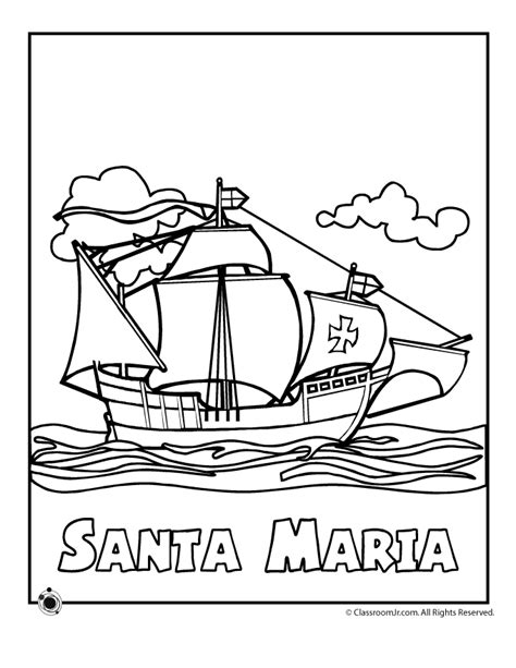 Columbus Day Coloring Pages Santa Maria Coloring Page Imagenes De Columbus Day For Coloring