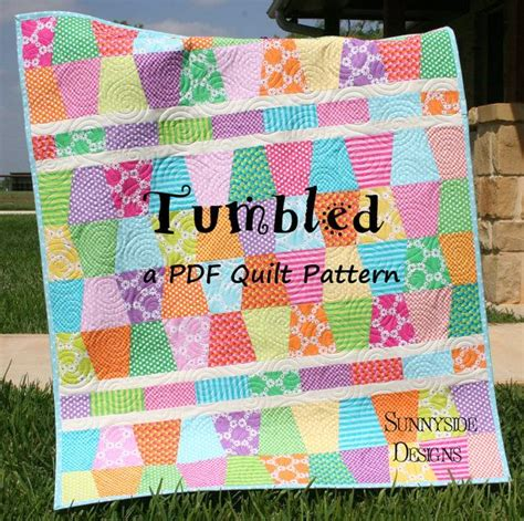 Pdf Quilt Patterns by Pdf Quilt Pattern Tumbled Charm Pack Baby And Throw Size