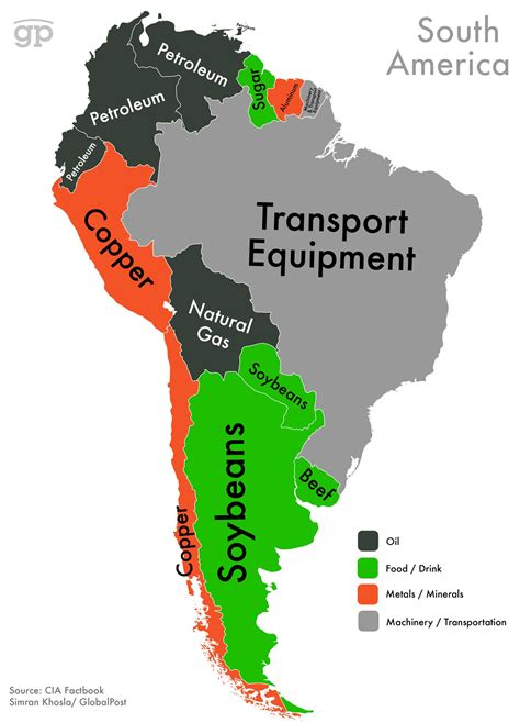 show a map of south america maps show countries highest valued exports from cia