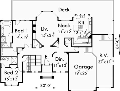 custom ranch house plans custom ranch house plan w daylight basement and rv garage