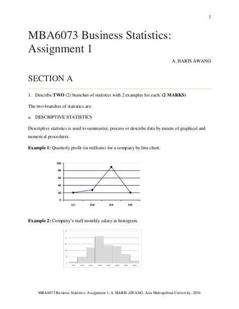 Mba Business Assignment by Business Statistics Assignment 1 By Haris Awang