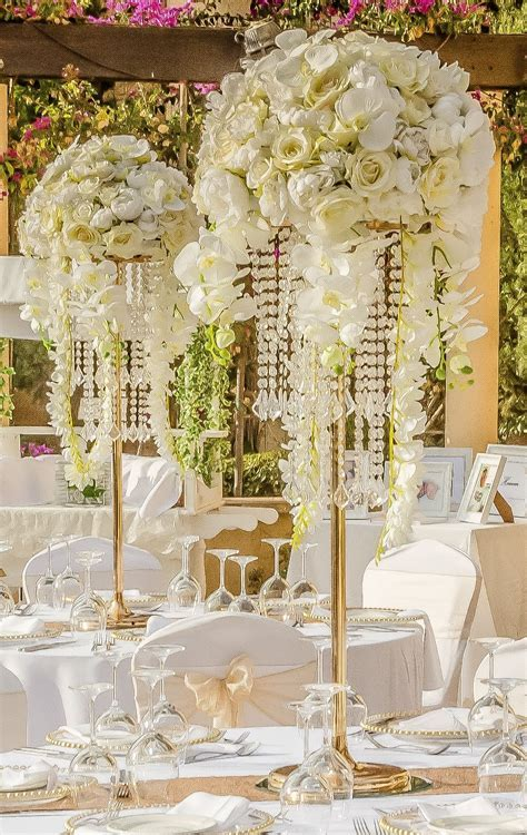 Large opulent and elegant centerpieces by Cyprus Wedding