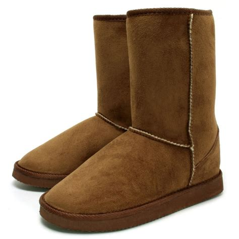 womens chestnut suede style fur flat calf boots