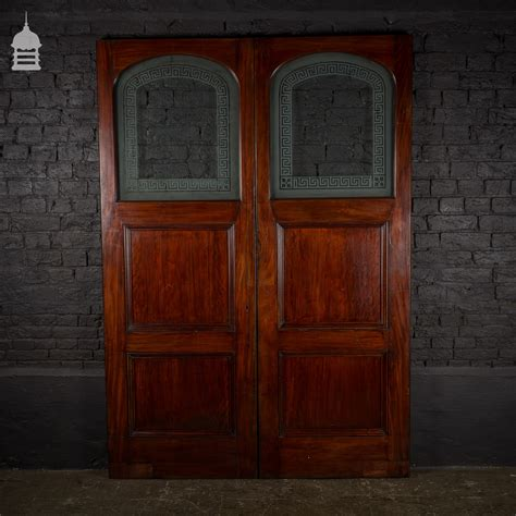Mahogany Doors With Glass Pair Of 19th C Mahogany Doors With Etched Glass Panels