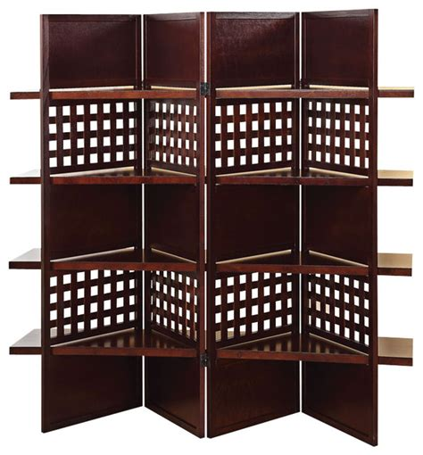 room dividers with storage contemporary brown wood 4 panel room divider screen display storage shelves contemporary