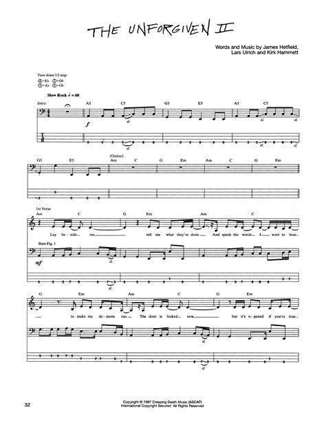 metallica unforgiven 2 lyrics the unforgiven ii sheet music metallica bass guitar tab