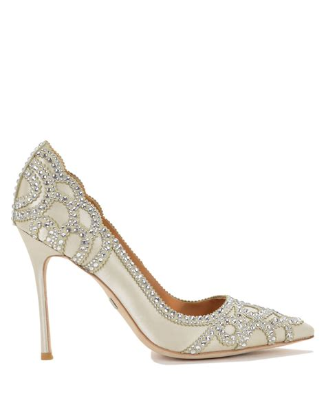 badgley mischka pointed toe embellished evening shoe