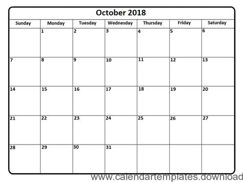 Calendar October 2018 Template Download Archives Free Calendar Templates Download 2018 Free Calendar 2018 Template