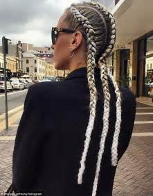 hairstyles for plaited extensions imogen anthony debuts braids woven with white extensions