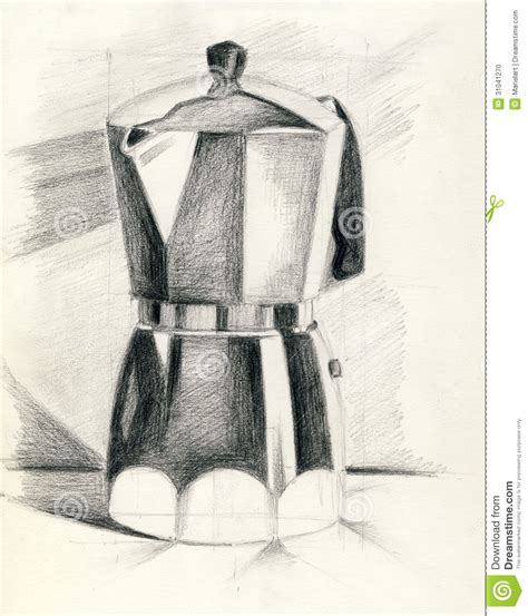 drawing maker a coffee maker stock illustration image of item