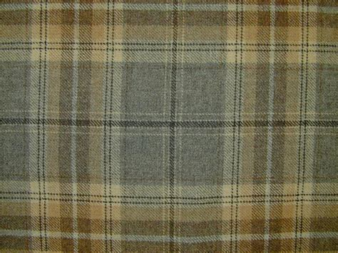 Tartan Plaid Upholstery Fabric by Designer Curtain Fabric 100 Wool Tartan Plaid Check Grey