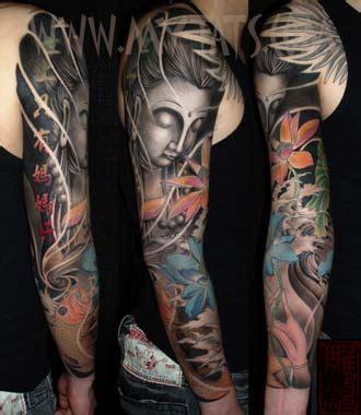 buddha sleeve tattoo designs buddha and koi by jess yen tattoonow