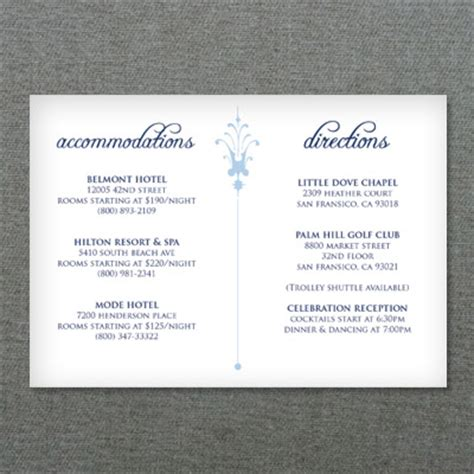 accommodation card template deco scroll wedding reception card template print