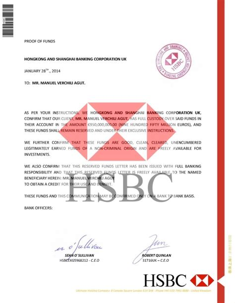 Proof Of Funds Letter Hsbc the whistleblowers manuel verchili agut counterfeit