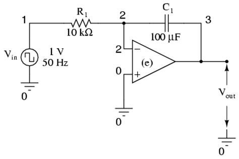 op integrator circuit waveform integrator op waveform