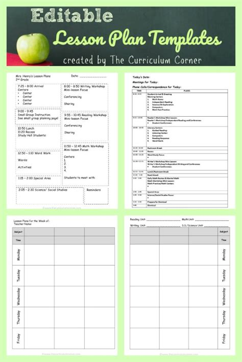 Lesson Plan Templates The Curriculum Corner 123 Lesson Plan Template Word Editable