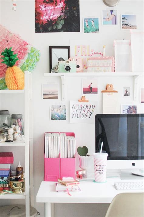creative workspace home office with pops of pink home