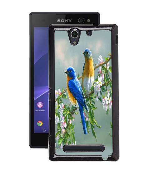 Lovely Xperia C3 Fuson Multicolour Lovely Bird Back Cover For Sony