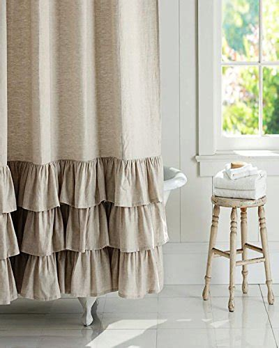 natural linen shower curtain bu natural organic linen frilled bordered 72 square