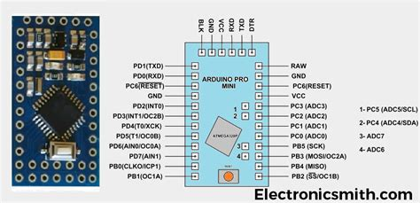 arduino pro mini pinout specification programing  ftdi