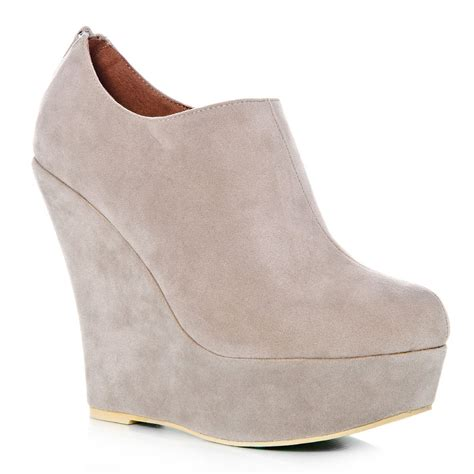 wedge high heeled platform ankle shoes boots