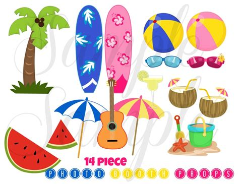 free printable luau party decorations instant download summer beach party 16 piece photo booth