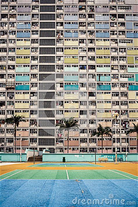 colorful apartment buildings hong kong stock photo image