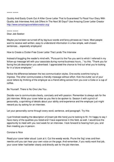 amazing cover letter creator amazing cover letter creator jimmy sweeney by arthur smith