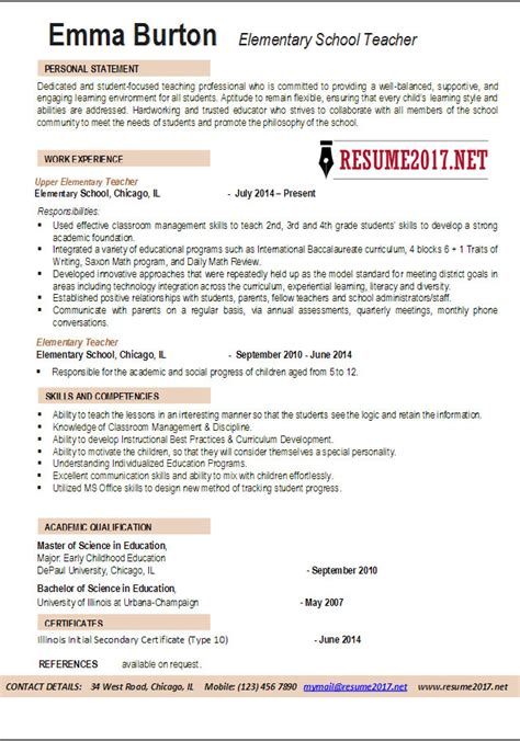 resume template for teachers elementary school resume exles 2017