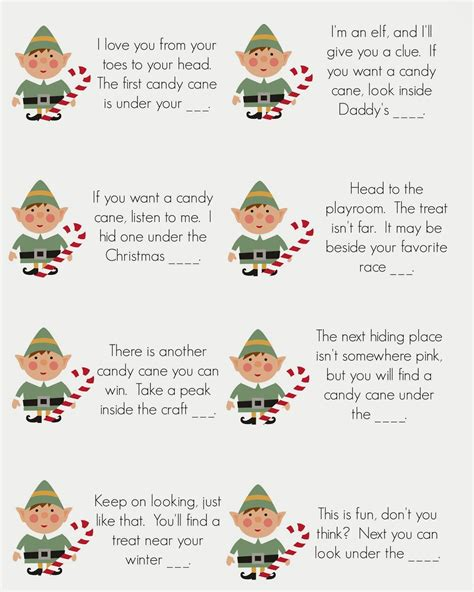 Printable Elf On The Shelf Scavenger Hunt | east coast mommy elf on the shelf candy cane scavenger hunt