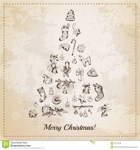 imagenes retro de navidad vintage christmas tree card stock vector illustration of