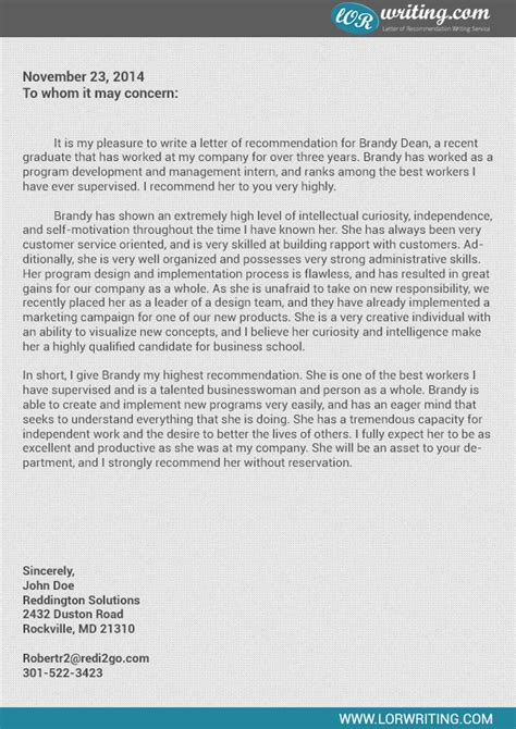 Business Reference Letter For Company professional business school recommendation letter sle