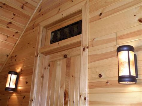 imposing interior log cabin paneling  solid knotty