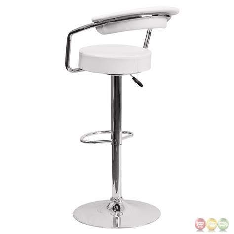 Adjustable Height Kitchen Stool With Arms by Contemporary White Vinyl Adjustable Height Barstool With