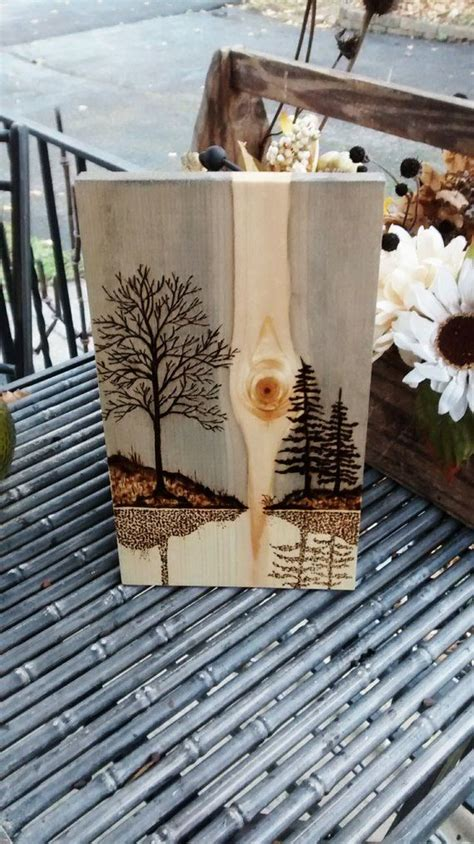 pyrography wood burning art mountain abstact pine scene