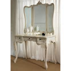 Antique white woodenn make up table with triple white wooden mirror