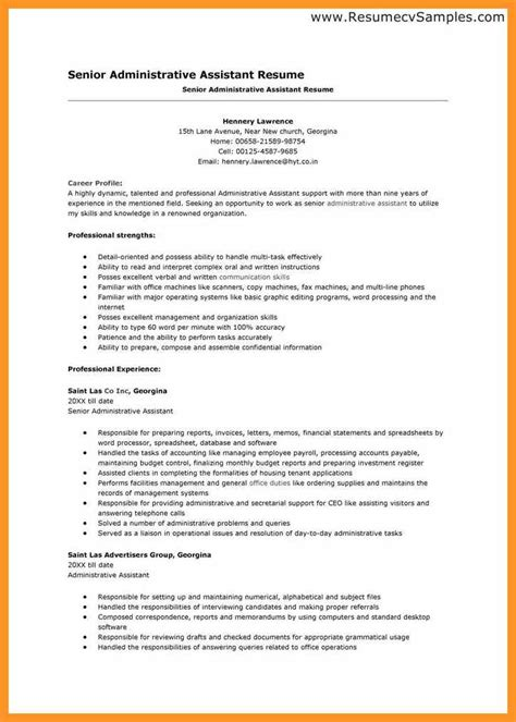 resume exles for administrative assistant objective office assistant resume description bio letter format