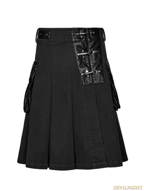 Black Steampunk Half Pleated Skirt for Men - Devilnight.co.uk