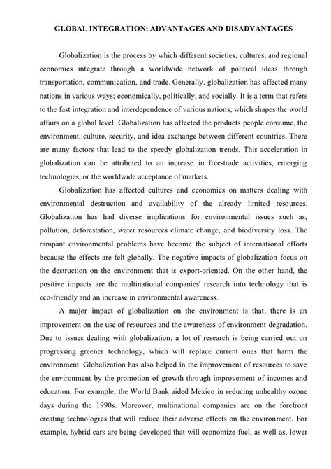 Globalization And Cultural Identity Essays by Essays Globalization Advantages Disadvantages