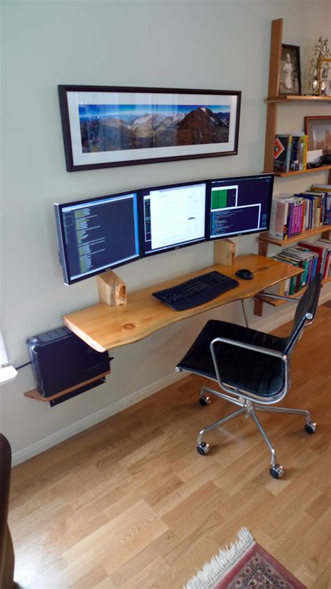 Slimline Computer Desks The Slimline Workspace Hungarian Shelves And Cables Gallery
