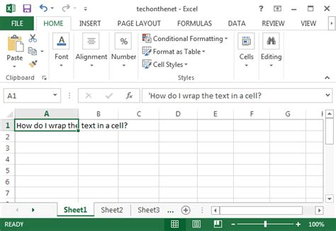 excel 2007 format cell text wrap ms excel 2013 wrap text in a cell