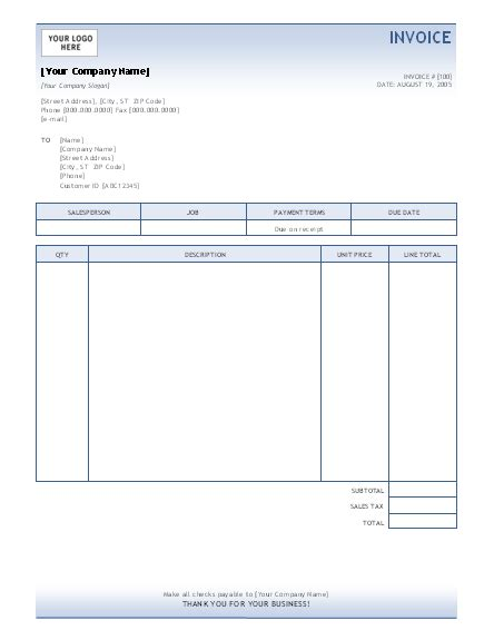 Invoice Template Invoices Ready Made Office Templates Microsoft Invoice Template Free