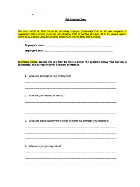 employee exit questions template types of exit documents free pdf doc excel