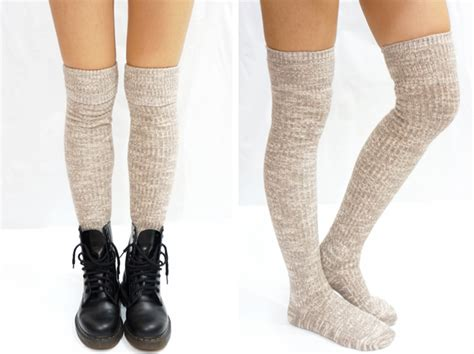 beige knit knee high socks boot socks on luulla