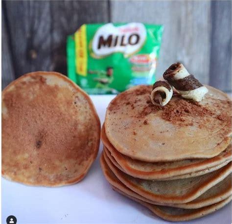 resep camilan enak pancake milo  es susu choki choki