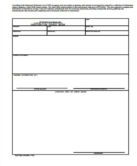 change of order form template change order template free premium templates
