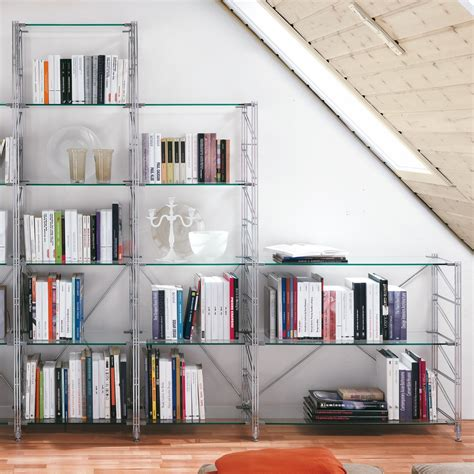 libreria per mansarda teodor libreria per mansarda in acciaio e vetro 365 x 35 x