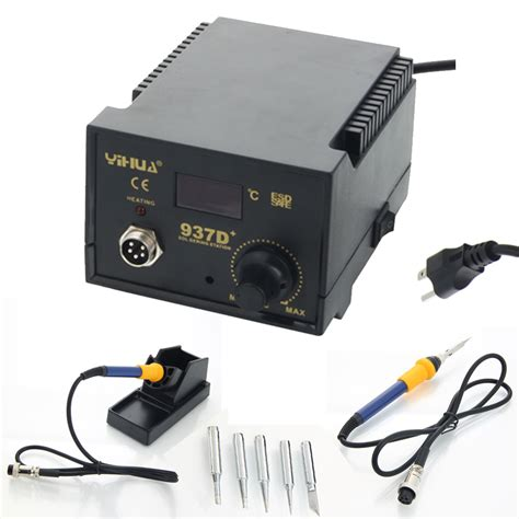 Solder Station Yihua 937d Original 2 yihua 937d 60w rework soldering station solder smd tool 5 tips stand esd 110v ebay